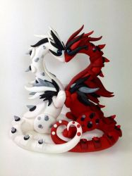 Valentine Dragon Wedding Cake Topper by MaryBunnie