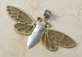 silver cicada with circuit by thebluekraken