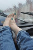 Barefoot In The Car by Foxy-Feet
