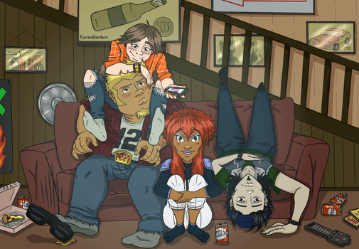 Megas XLR Draw the Squad hanging out! by KarmaBanshee