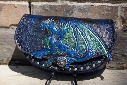 Leather Dragon Hard Pouch by Azmal
