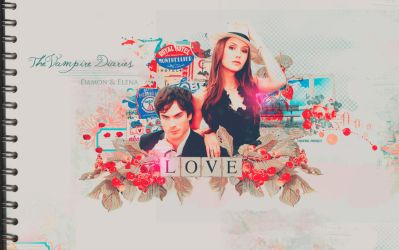 Wallpaper Damon and Elena by xRounax