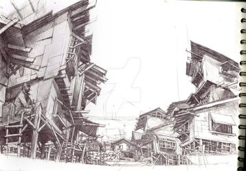 filipino fishing village WIP drawn usingn ballpen by mccat