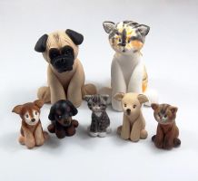 Pug and Cat with pets by HeartshapedCreations