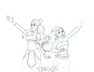 Katara and Moana WIP by Torsle