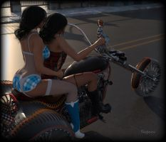 Hot Fetish Girls / Teles Twins in Teasy Riders by gajeco