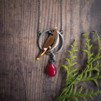 Bohemian waxwing necklace by szaranagayama