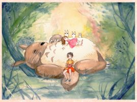 Totoro (watercolors) by Miriam-Moon