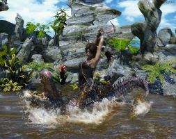 Lara VS Aligator by luciferFlash