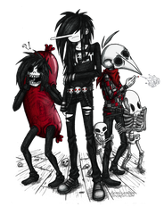 Nozy and his skeleton friends by DemiseMAN