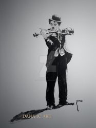 Charlie playing violin by ArtOfDanaIC