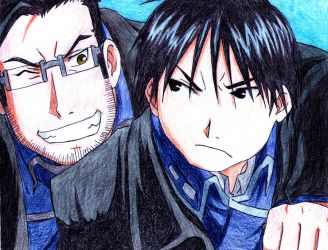 Roy Mustang and Maes Hughes by happylilsquirrel