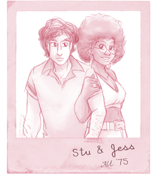 '70s AU Jess and Stu by ErinPtah