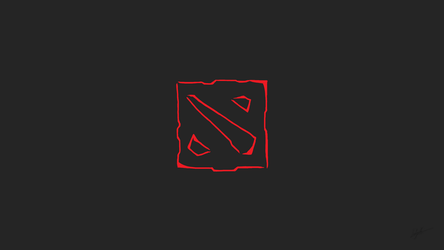 Dota2 - Minimalist Brush Logo Wallpaper by IsLyfProcrastination