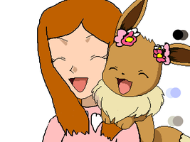 me and my eevee, diana by akarifan25
