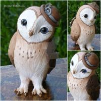 Steampunk Barn Owl by MysticReflections