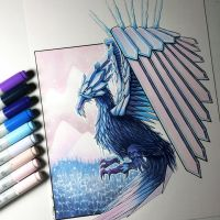 Ice Phoenix Drawing by LethalChris