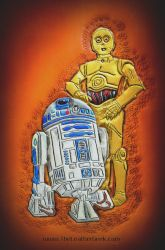 R2-D2 and C-3PO leather journal cover by CoreyChiev