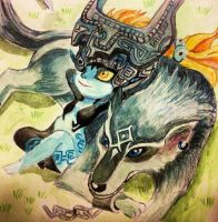 Wolf Link and Midna by ZarakiVal
