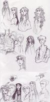 Harry Potter sketchdump 2- Draco and Astoria by ToscaSam