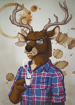 Janys the coffee deer by Phoeline
