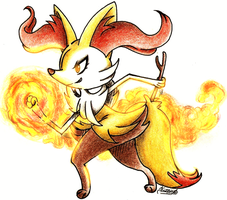Braixen/Teerunaa using Fire Punch by konus240998