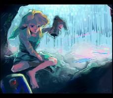 Link and a cataract by Sui-yumeshima