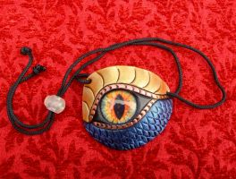 Gold-blue Dragon Eye Patch by merimask