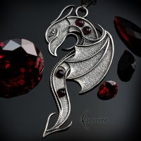 Necklace XAGHNAR DRACO  - Silver and Garnets. by LUNARIEEN