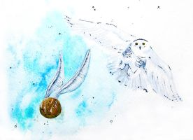 Hedwig and the Golden Snitch by MayhemHere
