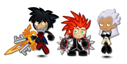 Kingdom Hearts Chibis: Vanitas, Axel, Ansem by LegendaryFrog