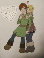 Hiccup and Astrid by MidoriEyes