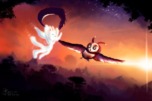 Flying Friends - Ori and the blind forest by Cherrylights