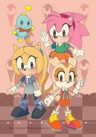 Sonic Poster - Retro Rosy Cream and Maria by Crystal-Ribbon
