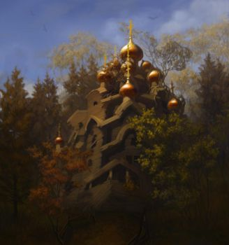 church in a forest by YESasha