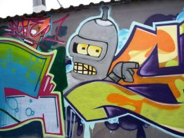 Futurama Bender Grafitti by Squirtlelover