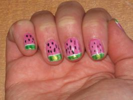 Watermelon Nails by yellow-tulips