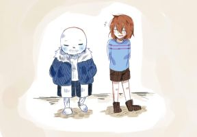 Sans and Frisk by TigyShark