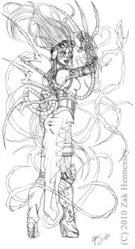 Steampunk Witchblade Sketch by LazarusReturns