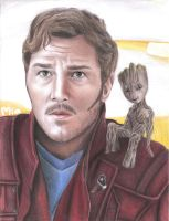 Star-Lord and Baby Groot by MayTheForceBeWithYou