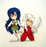 Inuyasha and Kagome by sugar-doodles