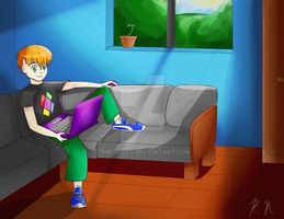 Commission for Level Alex Dell Sitting on the Sofa by 11newells