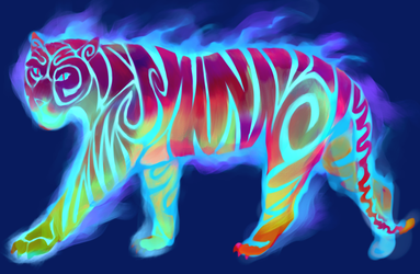 Painted Tiger by Four-Skulls