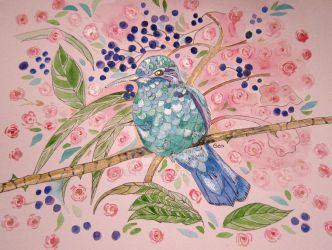 HUMMINGBIRD AND ROSES WITH SHIMMER by GeaAusten