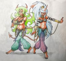 Scanty and Kneesocks harem outfits watercolor by DeathstarCocktail