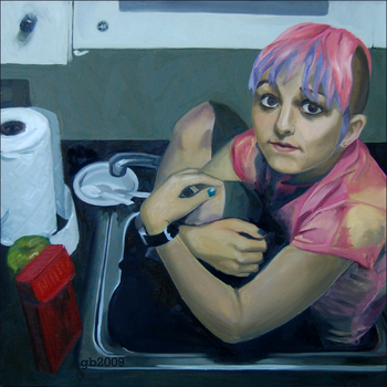 she sits in kitchen sinks. by gleeful-beast