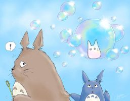 Totoro with Bubbles by aruarian-dancer