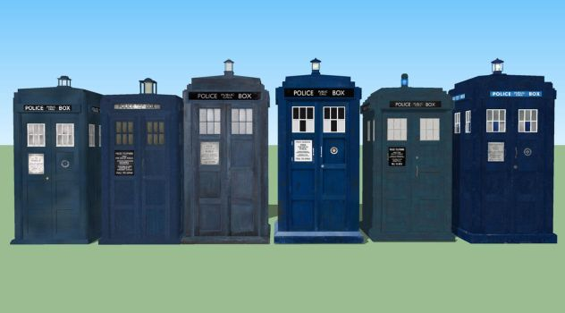 all of my 3D TARDIS models so far by Fusionfall550