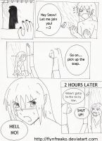 snow and mitsu comic by flynfreako