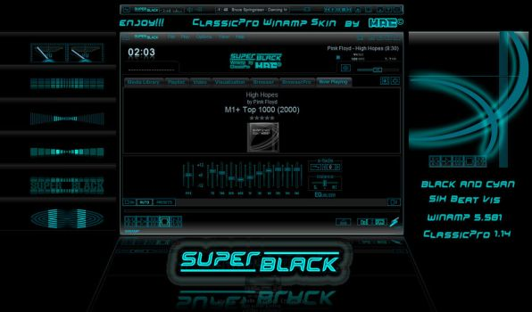 SUPER-BLACK - Winamp cPro skin by d4fmac